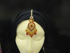 KUNDAN STONES HAIR HEADPIECE TIKKA JHUMAR HEAD JEWELLERY INDIAN BOLLYWOOD-T1A