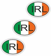 3x Oval Flag Stickers Ireland IRL Small Country Code Laptop Smartphone Case