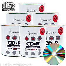 600-Pack SmartBuy Blank CD-R CDR 52X 700MB/80Min Record Disc w/ Shiny Silver Top