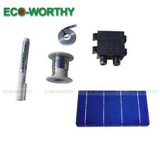 "40 PCS 6""X2"" 70W  DIY Mono Solar Cell w/ Junction Box for Phone Battery Charging"