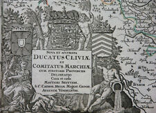 DUCATUS CLIVIAE KUPFERSTICHKARTE KLEVE DUISBURG MÜNSTER KARTUSCHE SEUTTER 1750