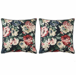 2 x IKEA Leikny Cushion Cover Floral Black Multicolor 20x20 Covers Pillow NEW