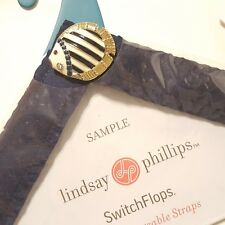 Lindsay Phillips Switchflops Navy Jeweled Fish Straps SIZE SMALL A2-15