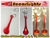 CHANDELIER CUT GLASS CRYSTALS DROPS ORBS ANTIQUE VINTAGE RED LIGHT PARTS PRISMS