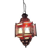 Moroccan Hanging Pendant Lantern Octagonal Brass Finish & Stained Glass Lamp