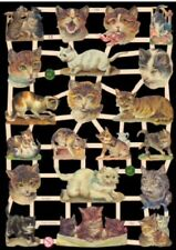 Paper Scrap Die Cut Reliefs / Lithograph / Cats / EF / Germany
