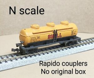 Shell Oil SCCX 3 dome tank car N scale Atlas orange refinery chemical gas petrol