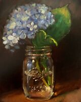 """Blue Hydrangea"" NOAH VERRIER Still life oil painting, Flowers, Signed art print"