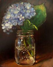 """Blue Hydrangea"" NOAH VERRIER Still life oil painting, Flowers, Signed art print"