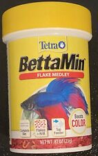 Tetra BettaMin Flakes Medley .81oz Boosts color complete diet top feeder NEW