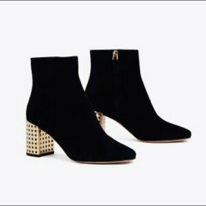 Tory Burch Olympia 70mm Bootie Kid Suedue Black Boots Women's US Size 7
