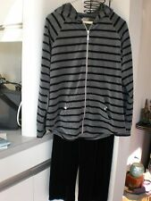 STYLE & CO SPORT VELOUR BLACK GREY FULL ZIP HOODIE STRIPED TOP / SWEATER SZ MED