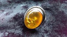 Amber Silver Vintage Costume Rings (Unknown Period)