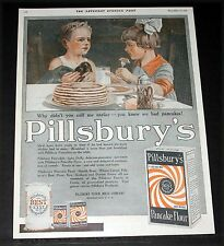 1919 OLD MAGAZINE PRINT AD, PILLSBURY'S FAMILY OF FOODS, WE HAD PANCAKES!, ART!