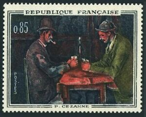 France 1016,hinged.Michel 1374. Paintings 1961.The Cardplayers,by Cezanne.