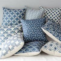 Blue Cotton Linen Pillow Case Throw Cushion Cover Home Sofa Car Decor Square