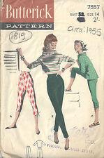 1955 Vintage Sewing Pattern B32 W26 PANTS & BOXY TOPS (1819R)