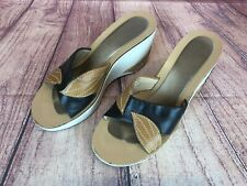 Indigo Womens Size 7.5 Leather Slide Wedge Sandals Leaves Detail 42r
