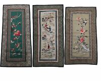 ANTIQUE CHINESE EMBROIDERY TEXTILE RARE PANEL 3 PIECES