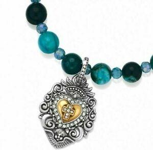 NWT Brighton DEVOTION SACRED HEART Blue Bead Bracelet MSRP $72