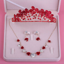 Red Crystal Flowers Wedding Bridal Tiara Crown+Necklace+Earring Set Accessories