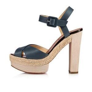 Christian Louboutin CABANA Leather Platform Wood Heel Clog Sandals Shoes $995