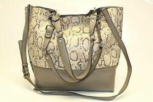 Calvin Klein Handbag Snake Embossed PVC Leatherette Tote Matching Cosmetic Bag