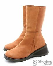Capa De Ozono Womens Boots Size 7 Mid Calf Brown Leather Handmade Platform Heels