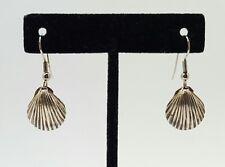 Vintage Sterling Silver Seashell Dangle Pierced Earrings