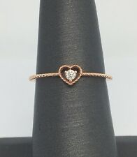 14K Solid Rose Gold Small Natural Diamond Heart Ring