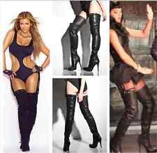 "SUPER SEXY!!! REPORT SIGNATURE ""KANE"" HIGH HEEL LEATHER OVER THE KNEE BOOTS 6.5"