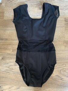 5 Five Dancewear Girls Black Leotard Youth XL Cap Sleeve Perforated Mesh YXL