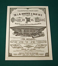 Reproduction of Brunswick & Balke 1881 Antique Pool Table Catalog