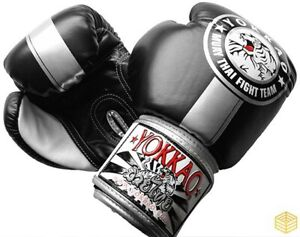 YOKKAO Official Fight Team Silver/Black Muay Thai Boxing Gloves (16oz)