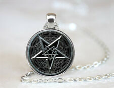 Pentagram Wiccan Occult Cabochon Tibetan silver Glass Chain Pendant Necklace