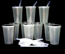 12 -Large 20 Oz. Glow in the Dark Plastic Drinking Glasses Lids Straws Mfg USA