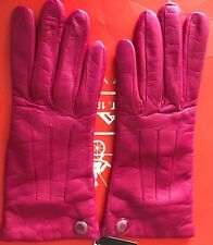 Authentic Leather Cashmere Lining Fuchsia Gloves NWT F83726. Size 7 1/2