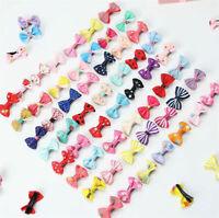 10Pcs Kids Boy Girl's Bow Ribbon Hair Bow Mini Latch Clips Hair Clip Hairpins