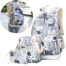 Cartoon Cat 3PC Women Girl Backpack handbag Canvas Travel Laptop School bookbag