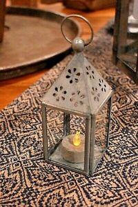 Primitive VINTAGE STYLE TEA LIGHT LANTERN Rustic Tea Light Holder