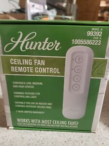 Hunter 99392 Universal 3 Speed Ceiling Fan Handheld Remote Control in White