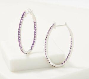 Sterling Silver 2.25Ct Amethyst Inside Out Oval Hoop Pierced Earrings Qvc $119
