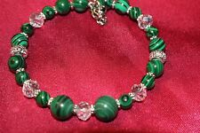 Bracelet Malachite Gemstone Beads Austrian Crystals Rhinestones Lobster clasp