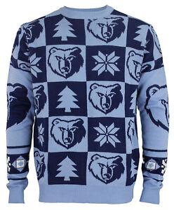 Klew Memphis Grizzlies NBA Men's 2016 Patches Ugly Sweater, Blue