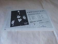 OPPOSITION - Petite Publicité de magazine / Advert EUROPEAN TOUR 84 !!!