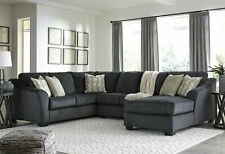 Modern 3 piece Sectional Living Room Dark Gray Fabric Sofa Couch Chaise Set IG2G