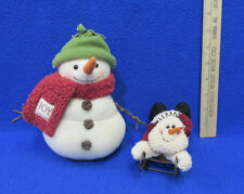 Christmas Plush Snowman Figure And Snowman On Metal Sled Holiday Decor Lot Of 2