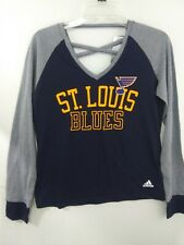 St. Louis Blues NHL Adidas Women's Small Long Sleeve Contrast T-Shirt Tee NWT