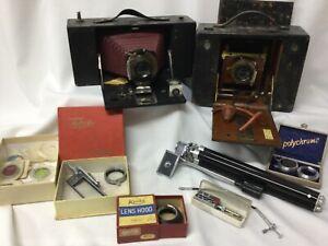 LOT 2 x Antique Kodak Folding Camera Red Bellows + Kenko lenses tripod & More