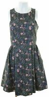 JACK WILLS Womens A-Line Dress UK 8 Small Multicoloured Floral Cotton  EE12